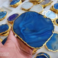 Blue Agate Slices With Engraving