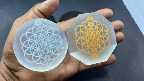Chakra Symbols Engraved Selenite Slices