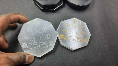 Selenite Charging Disc with Buddha Seven Chakra Sanskrit Engraved