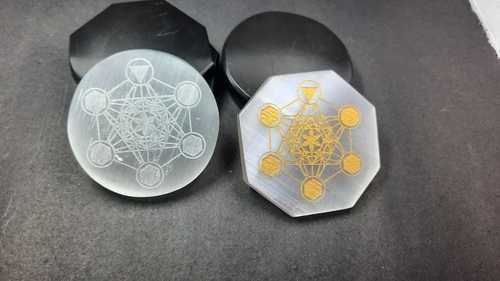 Selenite Disc with Metatron Chakra Platonic Engraving