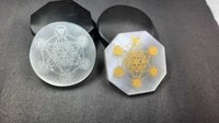 Selenite Disc with Metatron Chakra Platonic Engraving