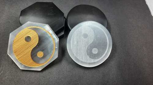 Selenite Disc with Ying Yang Engraved