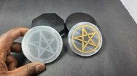 Selenite Star Engraving disc slices