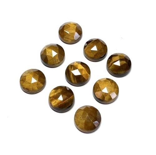 7mm Tiger Eye Rose Cut Round Loose Gemstones