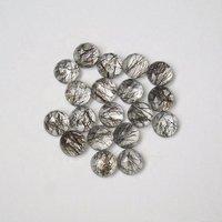 8mm Black Rutilated Quartz Rose Cut Round Loose Gemstones