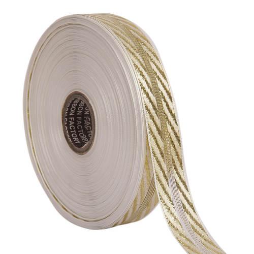 Lurex Gold Jali Diagonal Patti Ribbons 25 mm/1'' Inch Ribbon