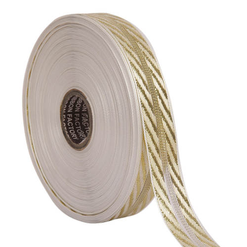 Lurex – Gold Jali Diagonal Patti Ribbons 25mm/1'' Inch Ribbon