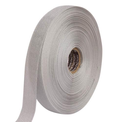 Lurex – Silver Stripe Edge Ribbons 25mm/1'' Inch 20mtr Length