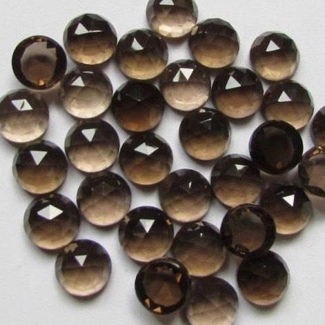 10mm Smoky Quartz Rose Cut Round Loose Gemstones