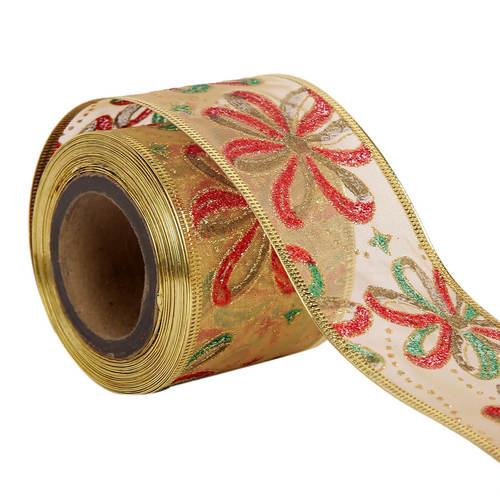Lurex – Christmas Flowers Ribbons  50mm /2'' Inch-10mtr Length