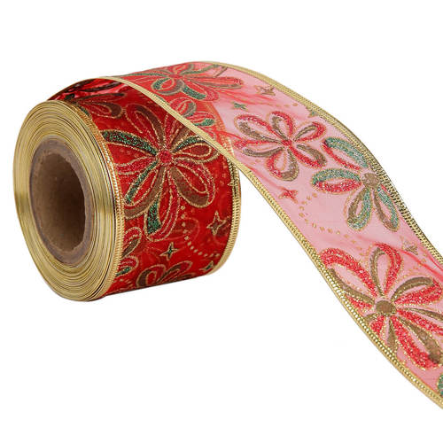 Lurex Flowers Red Ribbons  50 mm/2'' Inch 10 mtr Length