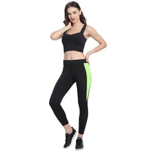 GSE Women's Black with Green Strip Tights