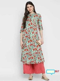 Cotton Kurtis With Chinese Collar