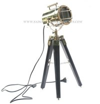 Nickel Plated Searchlight On Wooden Black Tripod Stand