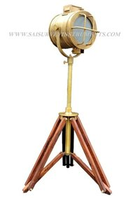 Brown Antique Royal Marine Spotlight With Tripod Stand - Vintage Look Searchlight On Stand