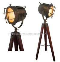 Authentic Vintage Look Antique Spotlight with Wooden Tripod Stand ~ Collectible Home/Office Decor Gift