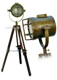 Brown Antique Vintage Look Searchlight with Wooden Stand ~ Collectible Marine Decor Gift