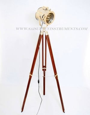Nickel Plated Floor Spotlight with Wooden Tripod Stand ~ Collectible Indoor Decor Light