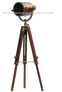 Copper Antique Vintage Look Authentic Model Spotlight with Tripod Stand ~ Floor Standing Lamp