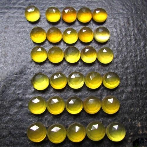 Round Rose Cut Yellow Chalcedony Yellow Chalcedony Gemstone Loose Gemstone Natural Yellow Chalcedony