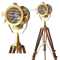Vintage Look Designer Searchlight with Wooden Tripod Stand Collectible Brown Antique Spotlight