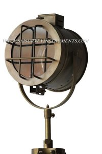 Authentic Model Brown Antique Spotlight with Fully Adjustable Stand Collectible Nautical Searchlight