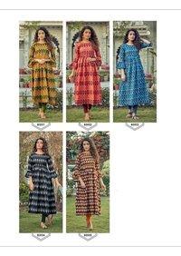 Designer Ikkat Printed Cotton Kurtis
