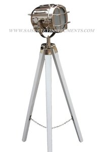 Chrome Vintage Spotlight with White Stand