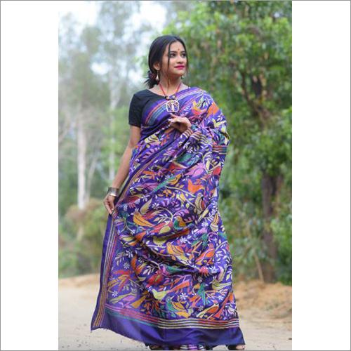 Ladies Pure Silk Kantha Stich Saree