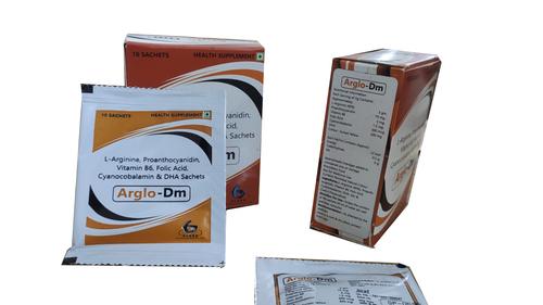 Arglo-DM : L-Arginine B6 ,DHA, folic acid, Proanthocyanidin Sachets