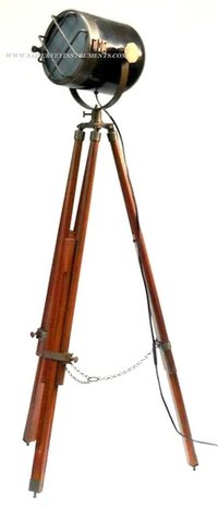 Black & Brown Antique Nautical Search Light with Wooden Tripod Stand ~ Collectible Model Spotlight