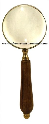 Magnifying Wooden Handle Brass Glass