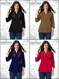 Dhunki Ladies Designer Embroidery Tops