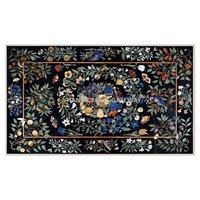 Beautiful Black Marble Pietra Dura Design Rectangular Shape Dining Table Top