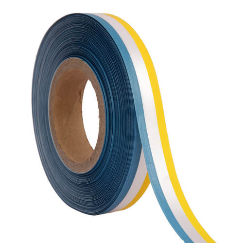 Double Satin Medallion –Blue, Whte, Yellow Ribbons25mm/1''inch 20mtr Length