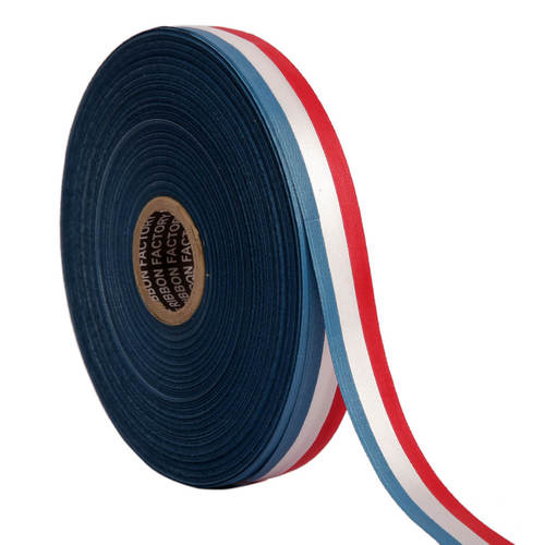 Double Satin Medallion – Blue, Whte, Red Ribbons 25mm/1''inch 20mtr Length