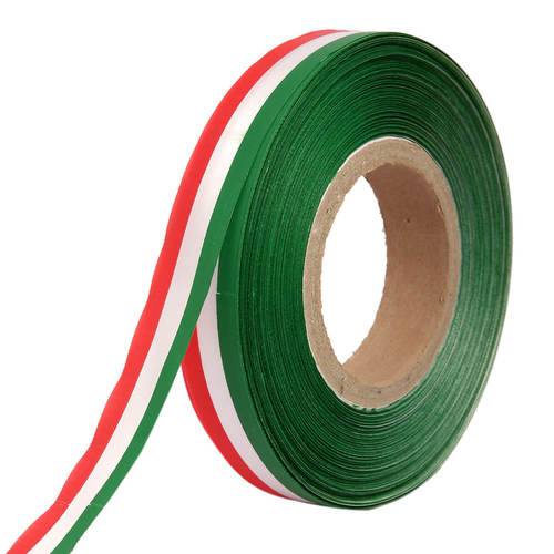 Double Satin Medallion – Red, White, Green Ribbons 25mm/1''inch 20mtr Length