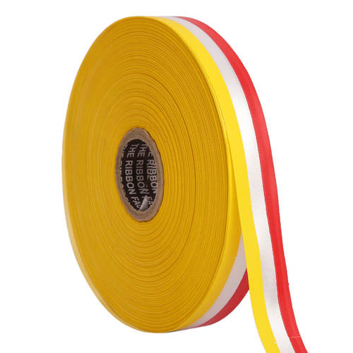 Double Satin Medallion – Yellow, White, Red Ribbons 12mm/ 20mtr Length