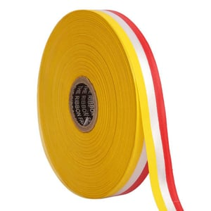 Double Satin Medallion a   Yellow, White, Red Ribbons 12mm/ 20mtr Length