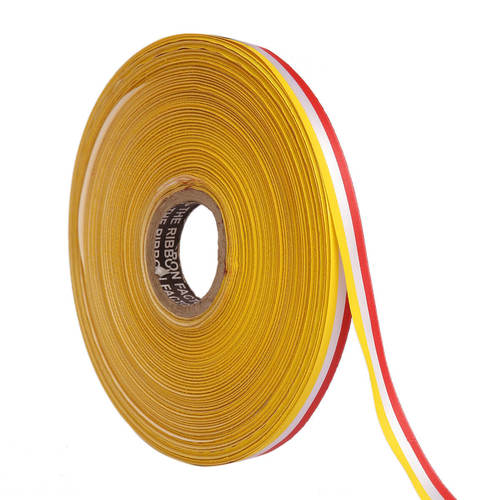 Double Satin Medallion – Green, White, Orange Ribbons 12mm / 20mtr Length