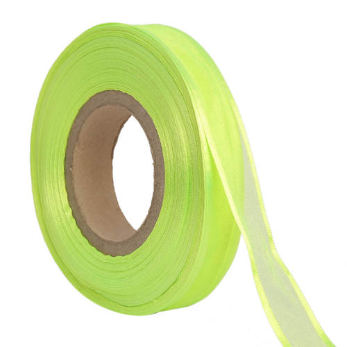 Organza Satin – Neon Green Ribbons 25mm/1''inch 20mtr Length