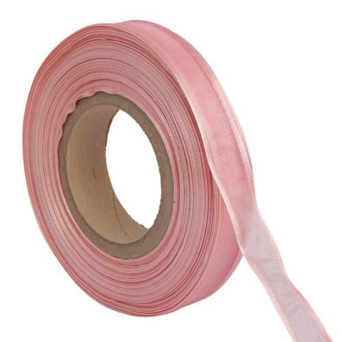 Organza Satin – Salmon Pink Ribbons 25mm/1''inch 20mtr Length