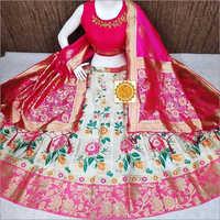 Floral Print Banarasi Lehenga