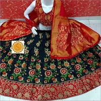 Ladies Floral Print Banarasi Lehenga