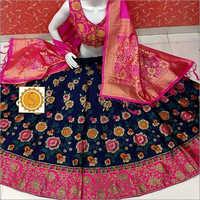 Digital Floral Printed Banarasi Lehenga
