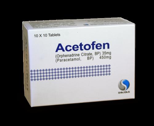 Orphenadrine Plus Paracetamol Tablets Certifications: Iso/Gmp/C-Gmp/Whogmp/Usfda/Eup