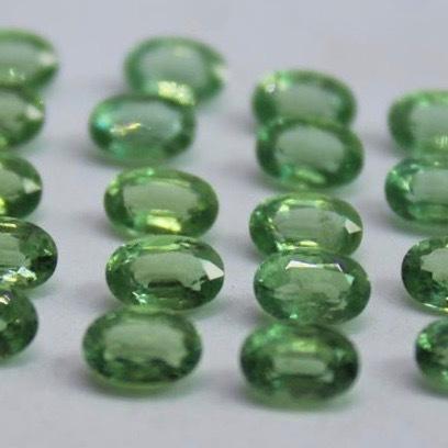 4x5mm Green Kyanite Faceted Oval Loose Gemstones