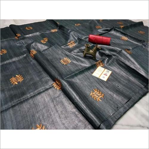 Grey Block Print Tusser Silk Saree