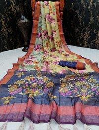 Digital Printed Linen Saree With Kalamkari