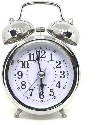 Twin Bell Alarm Clock Silver Big